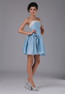 Cute Zipper-up Light Blue Strapless Short Cocktail Dresses For Dama in Union