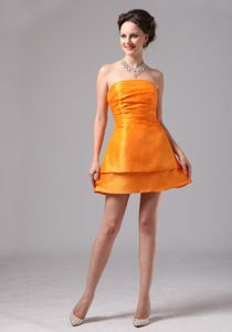 Lovely Orange Strapless Mini-length Quinceanera Dama Dresses with Two Layers