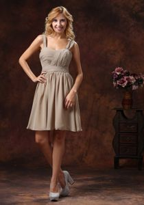 Zipper-up Knee-length Grey Ruched Dama Quinceanera Dresses with Straps