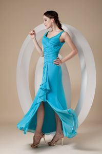 Special Teal Ruched Damas Dresses For Quince with Straps and Slit in Boise