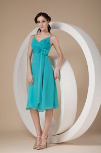 Turquoise Ruched Knee-length Damas Quinceanera Dress with Straps and Bow