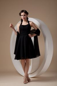 Popular Black Halter Knee-length Quince Dama Dresses with Ruche in Boise