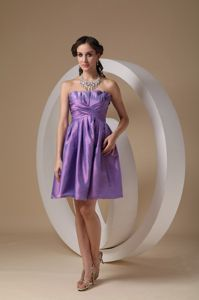Unique Lavender Taffeta Strapless Mini-length Dresses For Dama in Kalispell