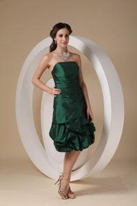 Elegant Strapless Dark Green Tea-length Quince Dama Dresses with Pick-ups
