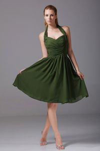 Halter Olive Green Knee-length Damas Quinceanera Dress with Ruche in Erie
