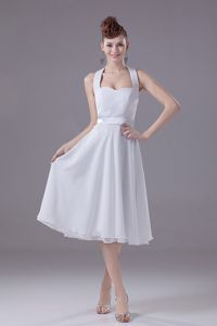 Simple Halter Tea-length White Chiffon Dama Quinceanera Dress in Chicago