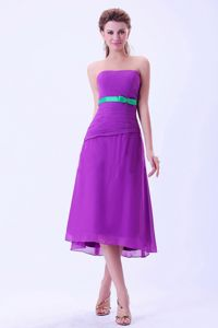 Special Purple Strapless Tea-length Damas Dresses with Green Belt in Bronx