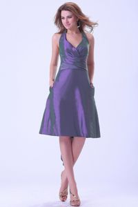 Lovely Purple Halter Knee-length Party Dama Dresses with Pocket and Sash