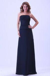 Zipper-up Navy Blue Strapless Floor-length Quince Damas Dress with Ruche
