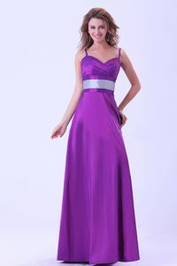 Elegant Purple Floor-length Dress For Damas with Spaghetti Straps and Belt
