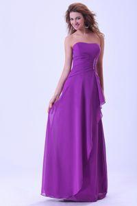 Zipper-up Strapless Floor-length Damas Dresses For Quinceanera in Purple