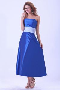 Simple Royal Blue Strapless Tea-length Dama Dresses with Grey Sash in Erie