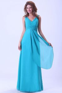 Beautiful Aqua Blue Ruched V-neck Floor-length Damas Quinceanera Dress