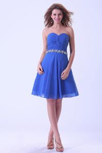 Sky Blue Ruched Sweetheart Quinceanera Dama Dress with Appliqued Waist