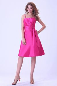 Wholesale Hot Pink Knee-length Dama Quinces Dress with Straps and Sash