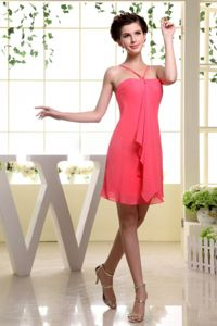 Simple Watermelon Red Mini-length Party Damas Dress with Spaghetti Straps