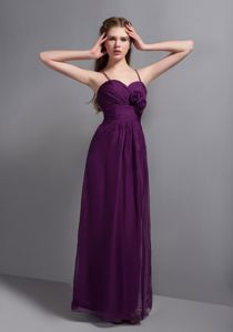 Sexy Purple Ruched Ankle-length Party Dama Dress with Straps and Flowers