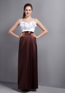 White and Brown Full-length Dresses For Dama with Straps and Ruffle-layers