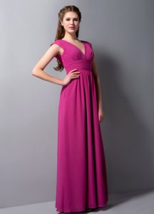 Modest Fuchsia V-neck Ankle-length Quince Dama Dress with Ruche in Reno
