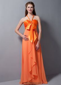Orange Red Halter V-neck Full-length 15 Dresses For Damas with Bowknots