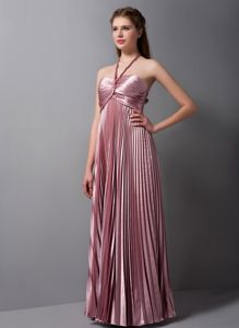 Exclusive Halter Pink Pleated Floor-length Prom Dresses For Damas in Easton