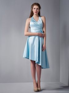 Lovely Baby Blue Halter Asymmetrical Ruched Dresses For Dama with Bow