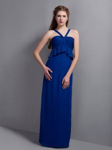 Unique Navy Blue V-neck Floor-length Damas Dresses with Straps in Colora