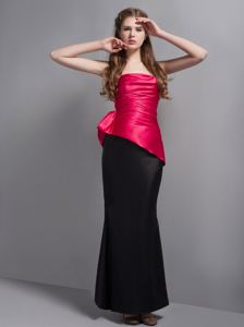 Simple Hot Pink and Black Strapless Floor-length Formal Dresses For Dama