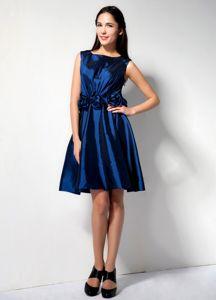 Elegant Royal Blue Scoop Knee-length Prom Dresses For Damas with Flowers