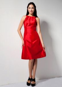 Hot Sale Zipper-up Red Bateau Knee-length Prom Dresses For Dama in Ames