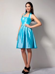 Brand New Halter Aqua Blue Knee-length Quinceanera Dama Dress in Peoria