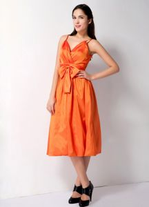 Low Back Orange Tea-length Prom Dresses For Dama with Straps and Bow