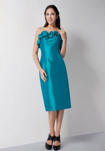 Special Teal Ruffled Strapless Tea-length Damas Dresses For Quince in Peoria