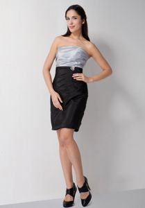 Zipper-up Silver and Black Strapless Short Formal Dresses For Damas in Erie