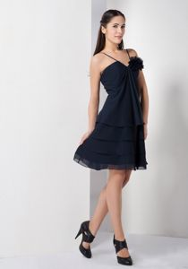 Lovely Navy Blue Mini-length Quinceanera Damas Dress with Flower and Straps