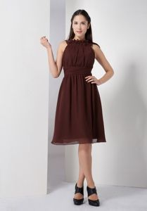 Modest Brown High Neck Knee-length Dresses For Dama with Ruche in Erie