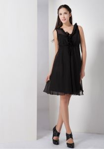 Elegant Ruffled V-neck Little Black Dama Dress For Quinceanera in Addison