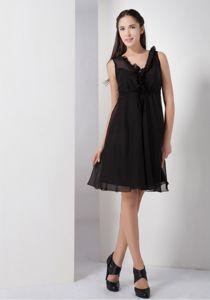 Elegant Ruffled V-neck Little Black Dama Dress For Quinceanera in Addison