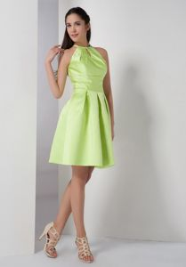Exclusive High-neck Yellow Green Short Prom Dress For Damas with Cutout