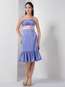 Unique Lilac Ruched Strapless Quince Dama Dress with Ruffle-layers in Boise