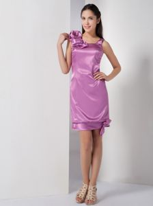 Special Lavender Single Shoulder Mini-length Dresses For Damas with Bow