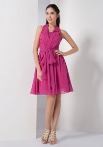 Zipper-up Fuchsia Ruched Halter Knee-length Dresses For Dama with Sash