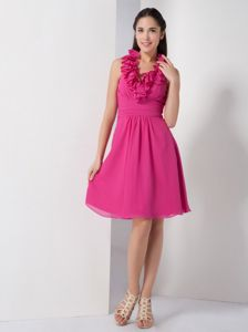 Hot Pink Ruffled Halter Knee-length Cocktail Dresses For Dama with Ruche