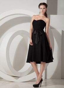 Sexy Sweetheart Black Tea-length Dresses For Damas with Ribbons in Erie