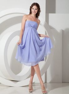 Elegant Lace-up Lilac Beaded Strapless Tea-length Dress For Damas in Vista