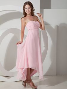 Baby Pink Ruched Sweetheart Asymmetrical Quince Damas Dresses in Taos