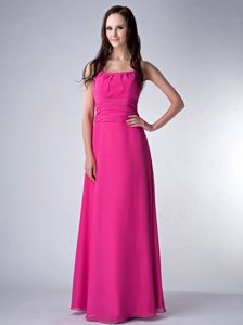 Sexy Halter Fuchsia Floor-length Prom Dress For Dama with Ruche in Storrs