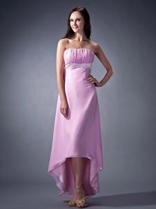 Modest Pink Ruched Strapless High-low Dama Quinceanera Dresses in Boise