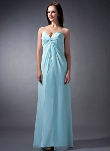 Zipper-up Light Blue Sweetheart Full-length Prom Dresses For Dama in Kihei