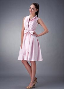 Elegant High-neck Baby Pink Knee-length Quince Dama Dresses with Bow